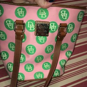 Dooney and Bourke pink and green polka dot bag